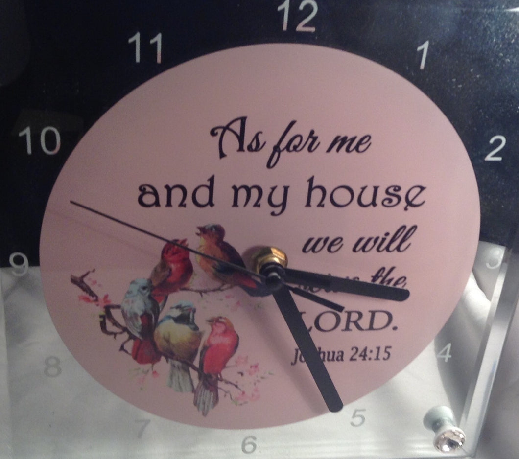 TABLE  CLOCK  AS FOR ME AND MY HOUSE WE WILL SERVE THE LORD