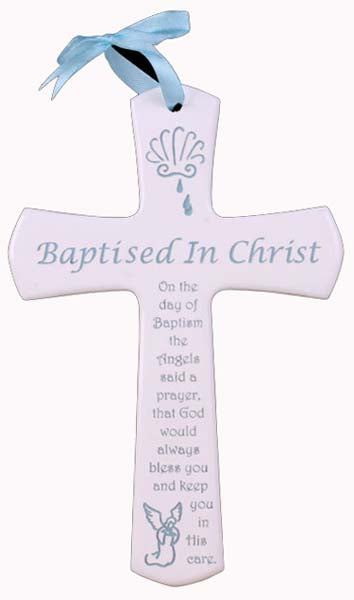 Blue Or Pink Letters On White Baptism Cross With Ribbon For Hanging