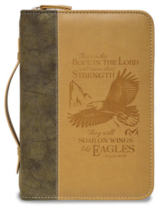 Bible Cover - Divine Details - Large - 7 In X 10 X 2 - Isaiah 40:31 - Tan/brown