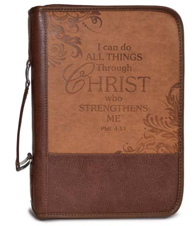 Bible Cover - Large 7in X 10 X 2 - Brown Leather Look - I Can Do All Things .