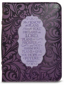 Bible Cover - Divine Details - Large - 7 In X 10 X 2 - Jeremiah 29:11 - Purple/mauve