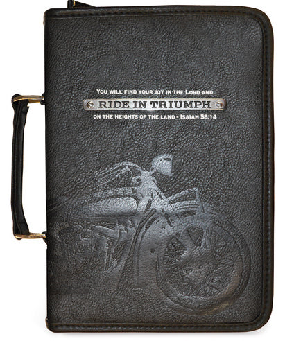 Bible Cover - Large - 6.87 In X 9.75 In X 2.25in - Black - Ride In Triumph - Isaiah 58:14