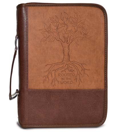 Bible Cover - Large 7in X 10 X 2 - Brown - Leather Look - Rooted In The Word