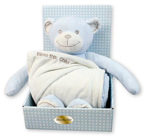 Baby Plush Bear Blue With Blanket