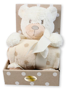 Baby Plush Bear Cream With Blanket