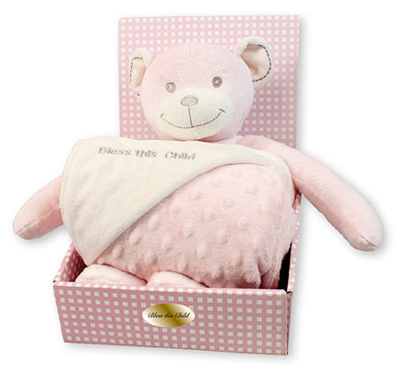 Baby Plush Bear Pink With Blanket