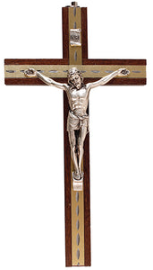 "Beech Wood  Hanging Crucifix 6"" Metal Inlaid"