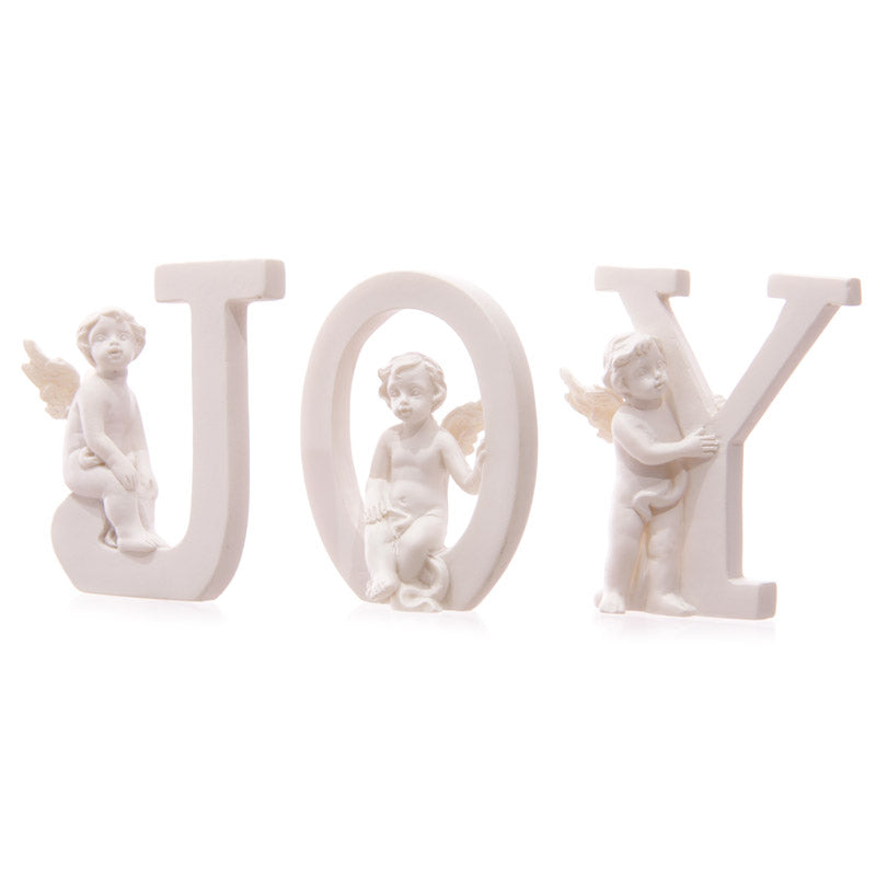 White Cherub J O Y Letters - Set of 3 Letters