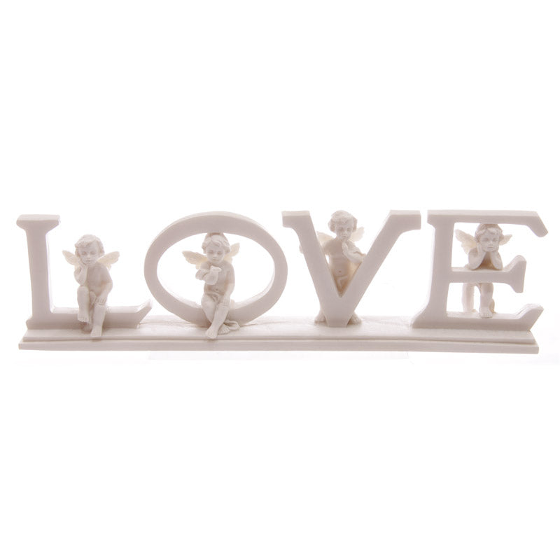White LOVE Cherub Letters on Base 6.5cm