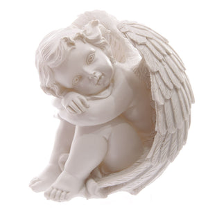White Cherub Resting Head on Knees 17cm