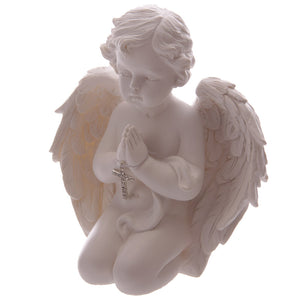 Kneeling Cherub Figurine with Bejewelled Cross - Medium