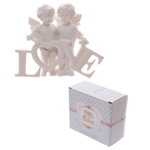 Cherubs Pair Holding LOVE Letters