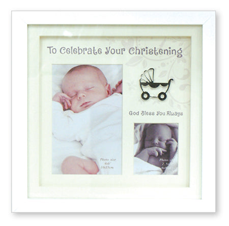 Christening Photo Frame White Finish
