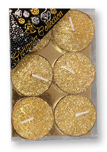 Christmas Tea Lights/Gold/Glitter/Pack 6