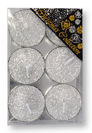 Christmas Tea Lights/Silver/Glitter/Pack 6