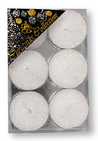 Christmas Tea Lights/White/Glitter/Pack 6