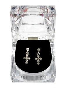 CROSS DROP EARRINGS IN PRESENTATION BOX