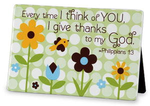 "Ceramic Plaque  ""I Give Thanks  Philippians 1;3"