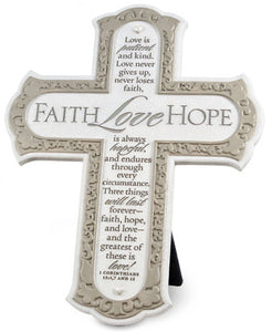 Cross - Faith Hope Love Collection - Wall Easel Back