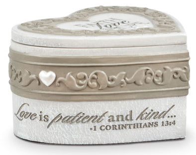 Faith Hope Love Collections - Keepsake Heart Box - Resin - 2.25In X 4.25In X 3.75In - We All Need Hope Booklet