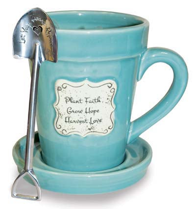 Flower Pot Mug: Plant Faith - Blue