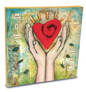 Wall Art - Canvas - Give Heart - 10in X 10in X 1in