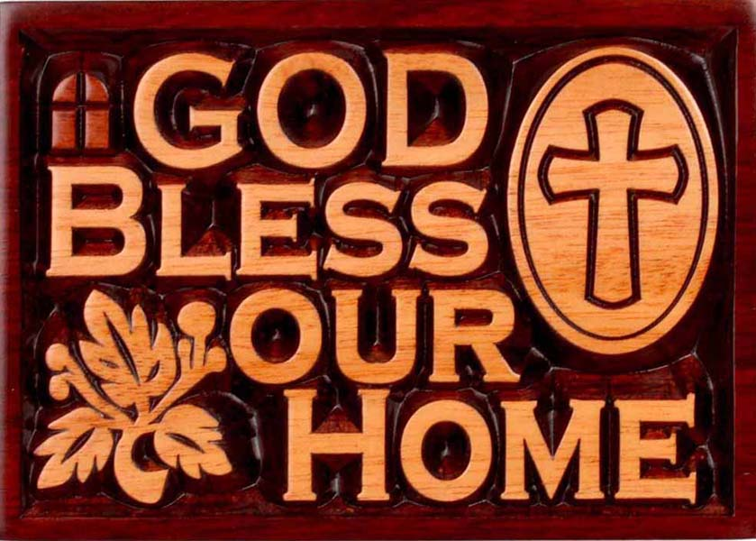 Plaque - Wall - Carved - God Bless Our Home 14cm