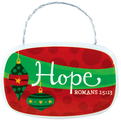 Hanging Plaque - Oval - Retro Plaque Ornaments - Hope - Romans 15:13 3.5 In X 2 In