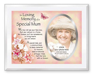 Special Mum Glass Photo Frame Mother In Loving Memory Remembrance Picture Frame