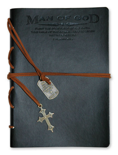 Journal - Faux Leather.man Of God. Black