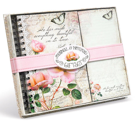 Journal And Notepad Giftset. Vintage Rose Collection.