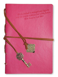 Journal - Faux Leather. Clothed In Strength.Fucsia. 7.5in X 5.3. With Journal Wrap And Bookmark