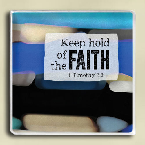 Magnet - Reflections Series. 2 In X 2 In Glass Magnet With Mosaic Artwork. Faith / 1 Timothy 3:9