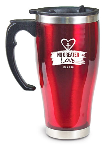 Travel Mug With Handle Red / No Greater Love