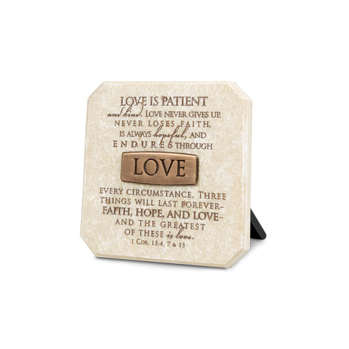 Plaque With Bronze Title Bar - Resin - Love - 3.75in X 3.75in - 1 Corinthians 13:4,7,13