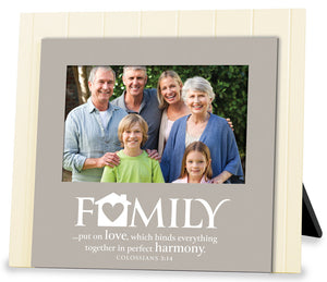 Photo Frame - Family. Beadboard Series.8.75in X 7.75in. Colossians 3:14
