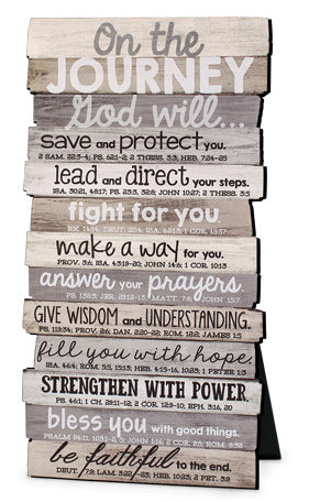 Plaque - Stacked Wood Series - Wall Or Desktop - Journey - Various Verses  8 x10