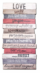 Plaque - Word Study Plaques - Wall Or Desktop - Love Will.. - Various Verses - 5in X 10in