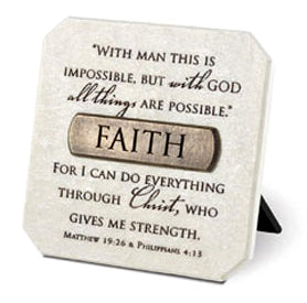 Plaque With Br onze Title Bar -resin-faith 3 .75in X 3.75in -matt 19,16