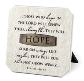 Plaque With Bronze Title Bar - Resin - Hope - 3.75in X 3.75in - Isaiah 40:31