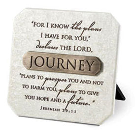 Plaque With Br onze Title Bar -resin-journey -3.75in X 3.75 in-jeremiah 29 ,11.