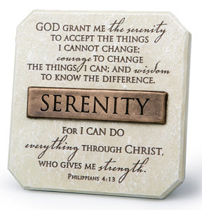 Plaque - Serenity - Cast Stone Bronze Title Bar - 3.75' X 3.75' Phillipians 4:13