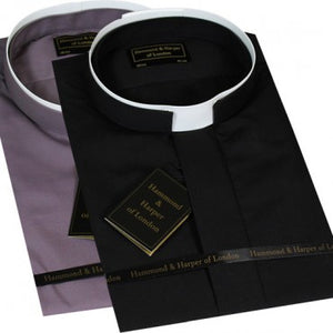 Men Long Sleeve Tonsure Collar Clerical Shirt (Colour Options Available)