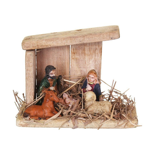 Wooden Stable Set With 3 Polyresin Figures -