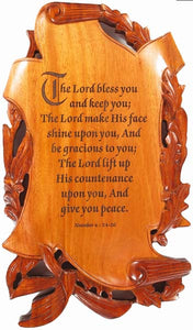 Scroll Plaque - The Lord Bless You And Keep You 11in X 7in