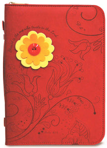 Bible Cover - Divine Details - Large - 7 In X 10 X 2 - Blessed Is The One - Red