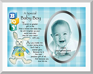 "A SPECIAL BABY BOY PHOTO FRAME 4"" X 6"" WITH NEW BORN BABY BOY VERSE"