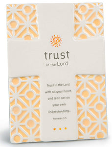 Plaque - Trust - Cross 5' X 7' Proverbs 3:5 Statement Series Plaques