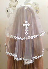 Girls White Communion Veil, Girls Accessories, Holy Communion with Diamantes