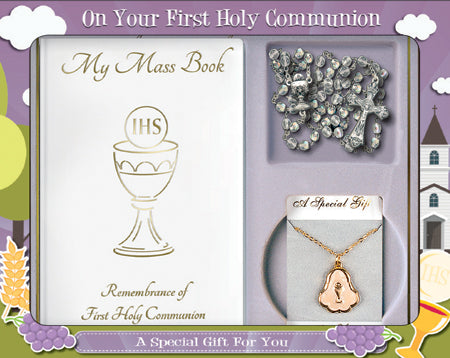 Holy Communion Gift Set With Crystal  Glass Rosary